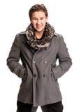 Ritratto dell'uomo bello in sciarpa e cappotto Immagine Stock Libera da Diritti