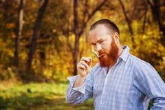 Ritratto dell'uomo brutale in camicia con capelli e la barba rossi Immagine Stock