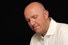 Ritratto dell'uomo calvo triste Fotografia Stock