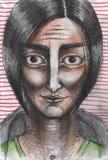 Ritratto dell'uomo con capelli neri Fotografia Stock