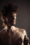 Ritratto dell'uomo con due cavi bruciati Fotografie Stock Libere da Diritti