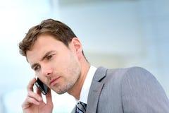 Ritratto dell'uomo d'affari che ha un phonecall Fotografie Stock