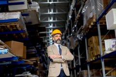 Ritratto dell'uomo d'affari senior in vestito con il casco in un warehous fotografia stock