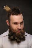 Ritratto dell'uomo del nuovo anno, barba lunga con i coni di Natale Fotografie Stock Libere da Diritti
