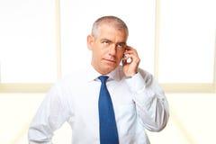 Ritratto dell'uomo di affari con il telefono Fotografia Stock Libera da Diritti