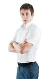 Ritratto dell'uomo di affari, isolato su bianco immagini stock