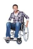 Ritratto dell'uomo di medio evo in sedia a rotelle Immagini Stock