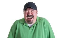 Ritratto dell'uomo estatico che porta camicia verde Fotografia Stock