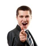 Ritratto dell'uomo felice di affari che indica voi Fotografia Stock