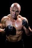 Ritratto dell'uomo muscolare con posizione di combattimento Immagine Stock Libera da Diritti