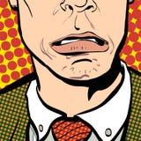 Ritratto dell'uomo sorpreso Uomo d'affari sorpreso Uomo sorpreso Idea di concetto della pubblicità e del promo Pop art retro Fotografia Stock Libera da Diritti