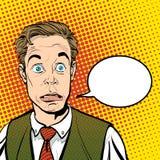 Ritratto dell'uomo sorpreso Uomo d'affari sorpreso Uomo sorpreso Idea di concetto della pubblicità e del promo Pop art retro Fotografia Stock