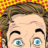 Ritratto dell'uomo sorpreso Uomo d'affari sorpreso Uomo sorpreso Idea di concetto della pubblicità e del promo Pop art retro Immagine Stock