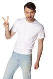 Ritratto dell'uomo sorridente felice, isolato su bianco Fotografia Stock