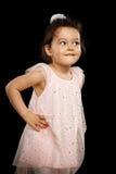 Ritratto della bambina di 3 anni su fondo nero Fotografia Stock