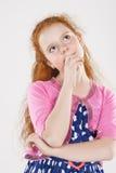 Ritratto della bambina di pensiero premurosa Fotografie Stock