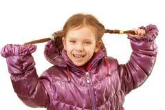 Ritratto della bambina in rivestimento di inverno Fotografie Stock
