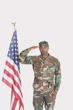 Ritratto della bandiera americana di saluto del soldato degli Stati Uniti Marine Corps sopra fondo grigio Fotografia Stock