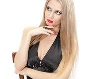 Ritratto della bella donna con gli orli rossi Fotografia Stock Libera da Diritti