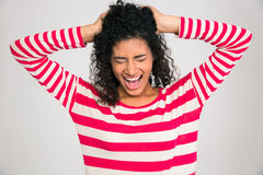Ritratto della donna afroamericana che grida Immagini Stock Libere da Diritti