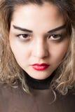 Ritratto della donna aggressiva appassionata fotografia stock libera da diritti