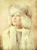Ritratto della donna attraente nello stile di inverno Fotografie Stock Libere da Diritti