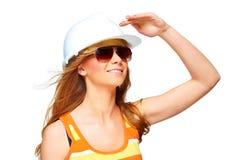 Ritratto della donna in casco fotografia stock libera da diritti