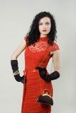 Ritratto della donna che porta vestito rosso Fotografia Stock Libera da Diritti