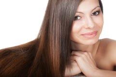 Ritratto della donna con capelli lunghi Fotografie Stock Libere da Diritti