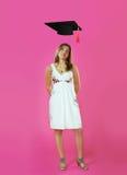 Ritratto della donna con il cappuccio di graduazione Fotografia Stock Libera da Diritti