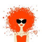 Ritratto della donna con l'acconciatura arancione, stile di estate illustrazione di stock