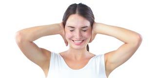 Ritratto della donna con le mani sulle orecchie Fotografia Stock Libera da Diritti