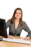 Ritratto della donna con un calcolatore. immagini stock libere da diritti
