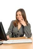 Ritratto della donna con un calcolatore. immagine stock