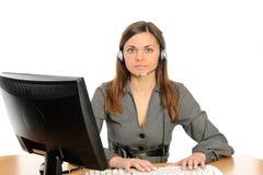 Ritratto della donna con un calcolatore. immagini stock
