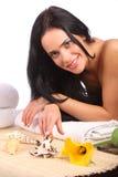 Ritratto della donna della stazione termale di bellezza Bella ragazza isolata fotografie stock libere da diritti