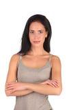 Ritratto della donna della stazione termale di bellezza Bella ragazza isolata fotografia stock