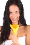 Ritratto della donna della stazione termale di bellezza Bella ragazza isolata immagini stock
