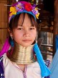 Ritratto della donna della tribù di Padaung Fotografia Stock Libera da Diritti
