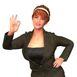Ritratto della donna di affari con il gesto perfetto Fotografia Stock