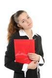 Ritratto della donna di affari con un dispositivo di piegatura immagini stock libere da diritti