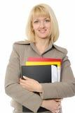 Ritratto della donna di affari con un dispositivo di piegatura Immagine Stock Libera da Diritti