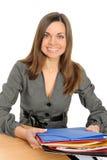 Ritratto della donna di affari con un dispositivo di piegatura immagini stock