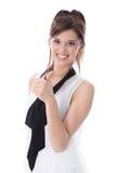 Ritratto della donna di affari felice con il pollice su isolato su bianco. Immagini Stock