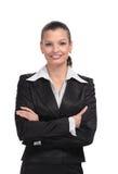Ritratto della donna di affari isolato su priorità bassa bianca Fotografie Stock Libere da Diritti