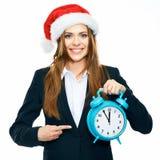 Ritratto della donna di affari nello stile di Natale Donna che indica aletta Immagine Stock