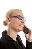 Ritratto della donna di affari in primo piano sul telefono fotografie stock