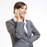 Ritratto della donna di affari su bianco Immagini Stock