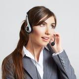 Ritratto della donna di affari su bianco Fotografia Stock
