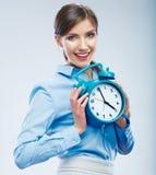 Ritratto della donna di concetto di tempo di affari Giovane manifestazione del modello aziendale Fotografia Stock